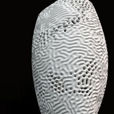 Diffusion Reaction vase: Rendering for a new line of 3-d printed vases by Nervous System, with patterning based on a diffusion reaction and reminiscent of the texture of coral