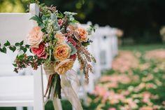 Dawn Ranch Lodge Wedding from Delbarr Moradi Photography Wedding Pews, Wedding Ceremony Flowers, Lodge Wedding, Floral Wedding, Wedding Pew Markers, Ranch, Jenny Packham Dresses, Aisle Flowers, Fine Art Wedding Photography