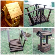 Some garden decorations made from pallet wood #Decoration, #Garden, #Pallets, #Upcycled