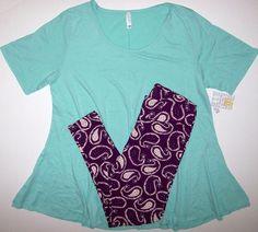 NEW LuLaRoe Outfit 3XL Mint Green Perfect T & TC Purple Paisley Leggings 3X LOT #LuLaRoe