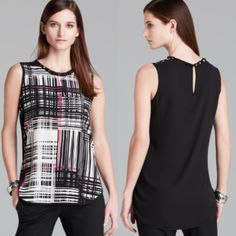 •Vince Camuto Grid Blouse• gently worn• graphic grid shirttail blouse• round neckline with studded embellishment, sleeveless, graphic print• split high low hem, sheer back with keyhole closure• polyester• Vince Camuto Tops Blouses