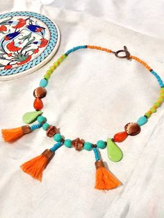 Bohemian gypsy necklace , tassel necklace , ethnic necklace , copper accented necklace , gypsy necklace by Nezihe1 on Etsy