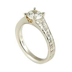Fiorenza P19-120/6.5  Platinum hand engraved solitaire engagement ring, accented with 18k yellow gold filigree #WeddingRings #EngagementRings #DiamondRings #Varna #VarnaJewelry #VarnaDesigns