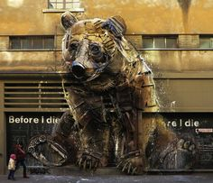Street Art Utopia » We declare the world as our canvas » Bear – By Bordalo II in Turin, Italy