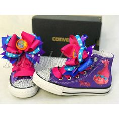 Complete your Trolls Birthday Outfit with these adorable Bling Sneakers! Decorated with crystal rhinestones on the toes and a vinyl image of Poppy Trolls on the