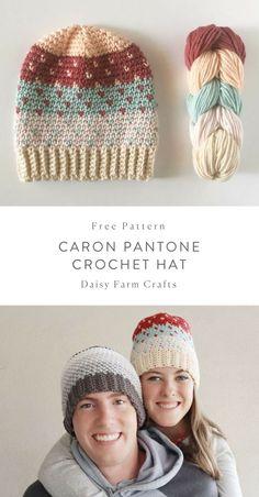 to Make a Crochet Hat Free Pattern - Caron Pantone Crochet HatFree Pattern - Caron Pantone Crochet Hat Bonnet Crochet, Crochet Beanie Pattern, Knit Or Crochet, Crochet Crafts, Crochet Projects, Diy Projects, Crochet Adult Hat, Crochet Daisy, Pantone