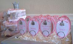 Name tags.  Wrapped diaper cake.