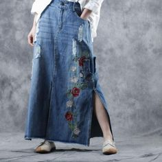 Buy Exquisite Rose Embroidery Distressed Skirt Denim Pencil Skirt in Skirts online shop, Morimiss offers Skirts to make you feel comfortable Pencil Skirt Casual, Pencil Skirt Outfits, Denim Pencil Skirt, High Waisted Pencil Skirt, Denim Skirt, Pencil Skirts, Pencil Dresses, Women's Skirts, Mini Skirts
