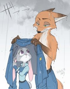 Nick covering up Judy in the rain.