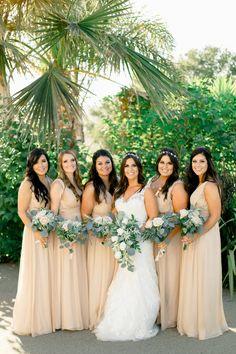Classic nude bridesmaid dresses: http://www.stylemepretty.com/california-weddings/corralitos/2015/12/15/antique-angelic-california-wedding/   Photography: Your Dream Photo - http://www.yourdreamphoto.com/