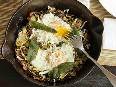 Brussels Sprouts Hash with Fried Sage and Soft Cooked Eggs. #vegetarian #recipe