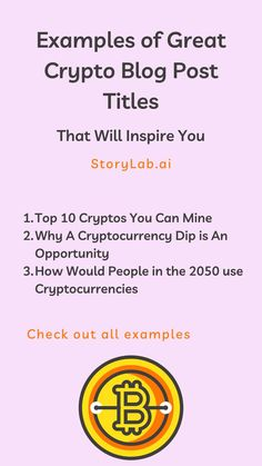 If you're a cryptocurrency blogger and you want to learn how to write a good post title for your blo, check out the following blog title examples and get inspired! We've used our Blog Title Generator to create a nice list of Blog Title Examples for Crypto Websites. Check them out below and start creating your own with our free generator. I hope this helps. #Blogging #Crypto #Cryptocurrencies #Blockchain #bloggingtips #ContentMarketing #ContentCreation Social Media Digital Marketing, Online Marketing Tools, Marketing Technology, Content Marketing Strategy, Social Media Marketing, Pinterest Marketing, Title Generator, Blog Title, Nice List
