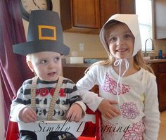Pilgrim Hats and Pilgrim Bonnets- really easy directions for 12x18 paper
