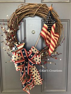 Your place to buy and sell all things handmade : Americana Patriotic Flag Rustic Primitive Grapevine Wreath, Country Front Door Decor, Kats Creations Patriotic Crafts, Patriotic Wreath, July Crafts, 4th Of July Wreath, Summer Wreath, Flag Wreath, Diy Wreath, Grapevine Wreath, Wreath Ideas