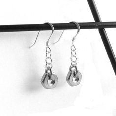 Sterling Silver and Stainless Steel Hex Nut Earrings from Loralyn Designs