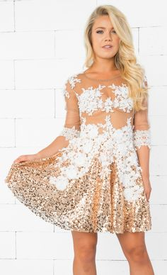 4cdd60bdae Indie XO Evening of Extravagance Gold White Sheer Mesh Lace Sequined 3 4  Sleeve Zip Back Flare Skater Mini Dress - Just Ours!