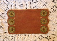 Thanksgiving Fall Wool Felt Penny Rug or Mat Mug Rug by FolkHome