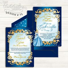 Do you have a big Cinderella fan at home that's excited to have a Cinderella birthday party? Then look no further than this whimsically vibrant and playful invitation to help make their dreams come true! From blue and gold, to the sheen and trendy patterns, this adorable Cinderella birthday invitation is sure to please your little princess and kick off the party in style! Cinderella Invitations, Princess Birthday Invitations, Cinderella Birthday, Printable Birthday Invitations, Printing Services, Little Princess, Your Cards, Thank You Cards