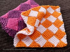 Garter Entrelac Dishcloth. It is not so very hard to knit. Skill needed: K, P…