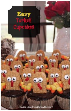 Easy Turkey Cupcakes Idea! Read all of our tips and tricks for this project idea! Kids LOVE THESE!