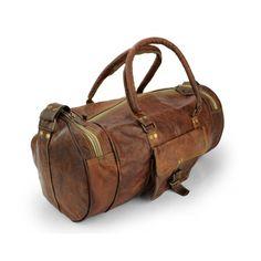 Leder Reisetasche in Handarbeit gefertigt 50cmx 25cm x 25cm mit Seitentaschen - rund