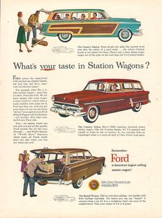1953 Ford station wagon ad.....my dad had burgundy village sq. trimmed w wood. I was in 8th grade