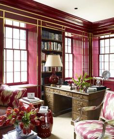 Dark rose laquered walls with gold trim