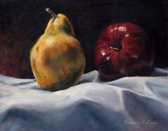 """Relative Fruit"" 11 x 14 oil on canvas Oil On Canvas, Pear, Paintings, Fruit, Food, Meal, Painted Canvas, The Fruit, Eten"