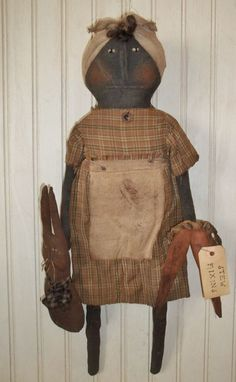 """Primitive Grungy Black Mammy Doll with Rabbit & Carrots """"Stew Fixins"""" #Primitive"""