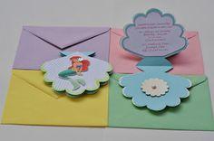 Princess Ariel Mermaid Seashell Invitations - Cute!