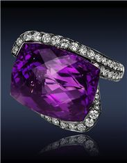 JACOB & Co- Heart Amethyst Diamond Ring - Ref. 91327334 - black plated Gold ring set with carats rose-cut Amethyst center to carats pavé set white Diamonds. Purple Jewelry, I Love Jewelry, Fine Jewelry, Jewelry Design, Jewelry 2014, Jewelry Art, Amethyst And Diamond Ring, Amethyst Jewelry, Gemstone Jewelry