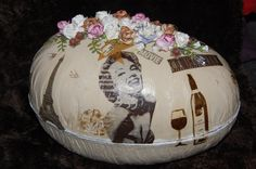 With hole in the back for the tap of the BagInBox wine. Winebottle and wineglass stamp are Ours. Wine Glass, Christmas Bulbs, Egg, Stamps, Holiday Decor, Design, Home Decor, Eggs, Seals