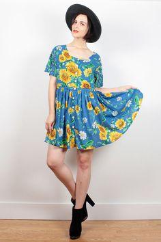 Vintage 90s Dress Blue SUNFLOWER Dress 1990s Dress Gauze Babydoll Dress Mini Dress Soft Grunge Dress Festival Hippie Dress L XL Extra Large by ShopTwitchVintage #1990s #90s #etsy #vintage #sunflower #sunflowers #soft #grunge #softgrunge #babydoll #dress #boho