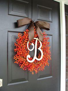 Fall Berry Monogram Wreath Fall Wreath Berry by ElegantWreath, $95.00