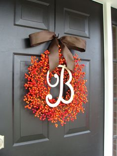 Fall Berry Monogram Wreath- Fall Wreath- Berry Wreath- Wedding Wreath- WEATHERPROOF Berries on Etsy, -LOVE!!!!!!