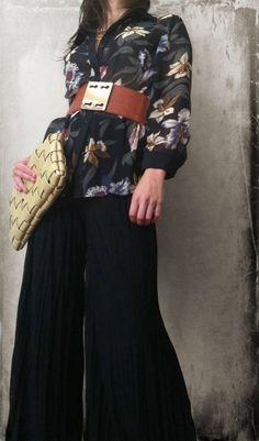 pallazo pants wide belt and blouse