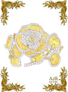 """CHANEL 2013 Camelia Solaire bracelet  .     """"Jardin de Camélias""""    The new High Jewellery collection, Jardin de Camélias, reinterprets   CHANEL's iconic flower with a range of exceptional pieces."""