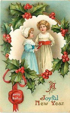 Vintage Joyful New Year card