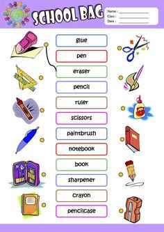Schoolbag ESL Printable Worksheets For Kids 1 English Activities For Kids, English Grammar For Kids, Learning English For Kids, English Worksheets For Kids, English Lessons For Kids, Kids English, English Language Learning, English Vocabulary, Teaching English