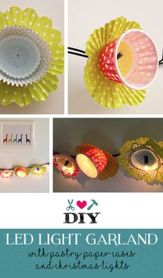 DIY led flower garland made with pastry paper cases and a strand of christmas lights