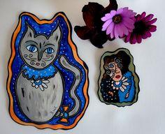 """Deux peintures inséparables """" Miss C(r)oquette et son grand chaton """" : Peintures par dinah-hascoet"""