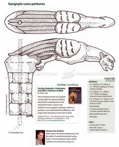 #1826 Carving Cane - Wood Carving Patterns - Wood Carving Woodworking Plans