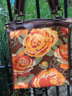 Vintage+70s+Floral+tote+bag+in+orange+green+by+QuirkyCrowsVintage,+$22.00