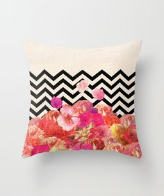 Awesome floral and chevron pillow to dress up your couch or bed