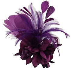 Coolr Women's Fascinator Hairclip Retro Feather Flower Corsage Purple at Amazon Women's Clothing store: