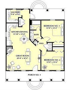 Southern Style House Plan - 2 Beds 1 Baths 1097 Sq/Ft Plan #44-148 Floor Plan - Main Floor Plan - Houseplans.com