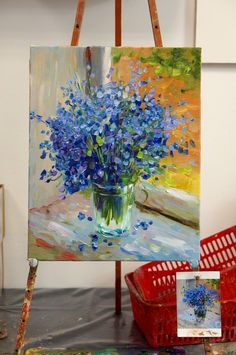 La imagen puede contener: planta, mesa, flor e interior Acrylic Painting Techniques, Acrylic Paintings, Large Canvas Art, Colorful Paintings, Wall Art Pictures, Painting Inspiration, Flower Art, Art Drawings, Art Projects