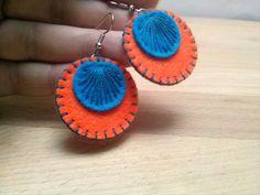 Felt Earrings – Felt earrings - Orange and Blue retro dangle – a unique product by dusi-ustvarja on DaWanda