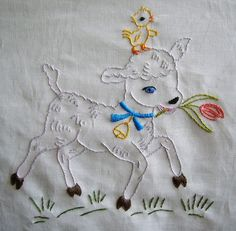 Pattern Inspiration * Sweet lil' Lamb and Duck Embroidery Design. Perfect for an apron, embroidery hoop or nursery art! Cute Embroidery Patterns, Baby Embroidery, Hand Embroidery Designs, Vintage Embroidery, Cross Stitch Embroidery, Quilt Patterns, Embroidery Transfers, Ribbon Embroidery, Embroidered Pillowcases