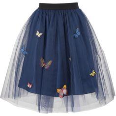 George J. Love 3/4 Length Skirt (275 BRL) ❤ liked on Polyvore featuring skirts, bottoms, faldas, dark blue, dark blue skirt, blue flared skirt, blue skirt, elastic waist skirt and elastic waistband skirt